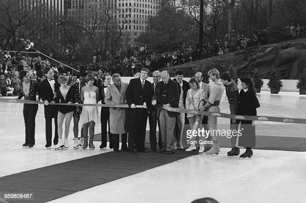American businessman Donald Trump at the reopening ceremony of the Wollman Rink in Central Park New York City 13th November 1986 Cutting the ribbon...