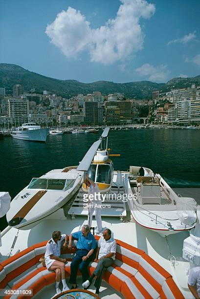 American businessman Roy Carver aboard his Feadship yacht LAC II in Monte Carlo harbour Monaco August 1976 The yacht is equipped with its own Donzi...