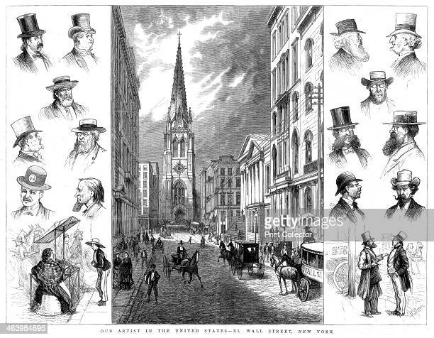 American businessmen and Wall Street New York USA 1877 'Our Artist in the United States Wall Street New York' Illustration from The Graphic