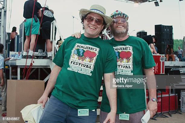 American businessmen philanthropists and founders of Ben Jerry's ice cream company Jerry Greenfield and Ben Cohen at the 'One World One Heart...