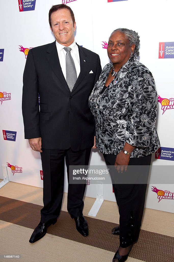 American Cancer Society California Division CEO David Veneziano (L) and American Cancer Society National Chair of the Board Cynthia LeBlanc attend the cast of 'Hot Flashes' and The American Cancer Society celebrate 'Blow Out Cancer' event at Montage Beverly Hills on June 19, 2012 in Beverly Hills, California.