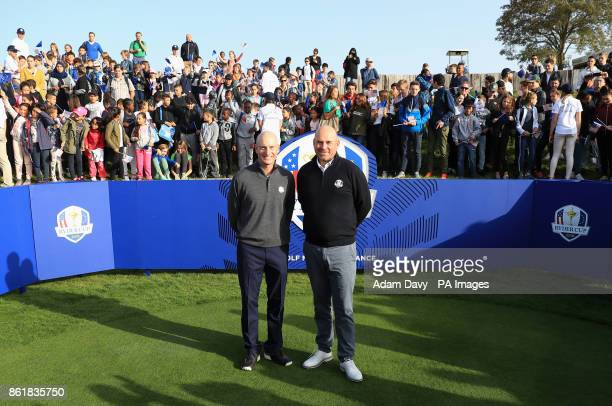 American captain Jim Furyk and European captain Thomas Bjorn during a media event ahead of the 2018 Ryder Cup at Le Golf National Paris