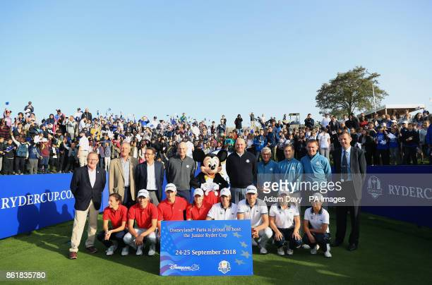 American captain Jim Furyk and European captain Thomas Bjorn pose with competitors of the Junior Ryder Cup during a media event ahead of the 2018...