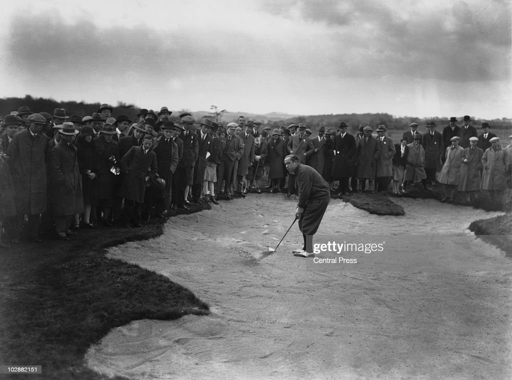 American captain Walter Hagen (1892 - 1969) in the bunker during the Ryder Cup at Moortown Golf Club in West Yorkshire, April 1929.