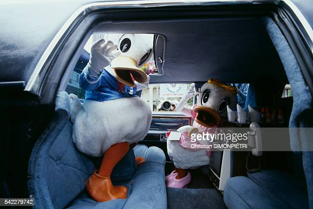American cartoon character Donald Duck celebrates his 50th birthday with his girlfriend Daisy at the famous Grauman's Chinese Theatre plaza