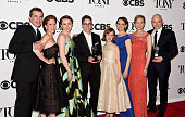 American cartoonist Alison Bechdel with cast of 'Fun Home' winners of the award for Best Musical including Michael Cerveris winner of the award for...