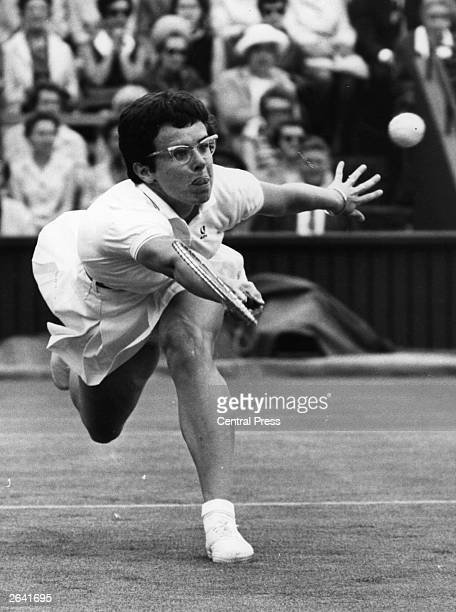 American champion tennis player Billie Jean King in action at Wimbledon