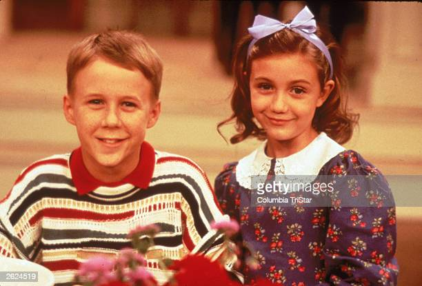 American child actors Benjamin Salisbury and Madeline Zima in a promotional portrait for the television series 'The Nanny' 1993