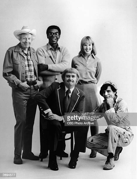 American children's television host Robert Keeshan poses with the cast of his TV series 'Captain Kangaroo' 1975 LR Hugh Brannum James Wall Debbie...