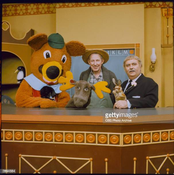American children's television host Robert Keeshan poses with the cast of his TV series 'Captaon Kangaroo' circa 1967 LR 'Dancing Bear' 'Mr Moose'...
