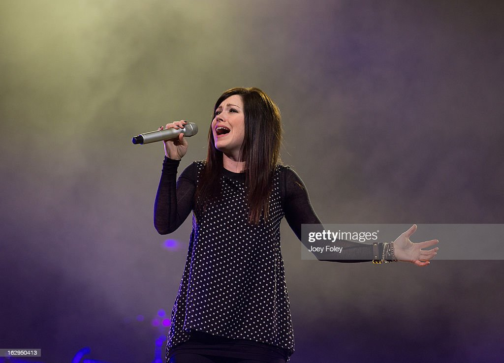 American Christian singer-songwriter Kari Jobe performs in concert during 'Burning Lights' tour at Bankers Life Fieldhouse on March 1, 2013 in Indianapolis, Indiana.
