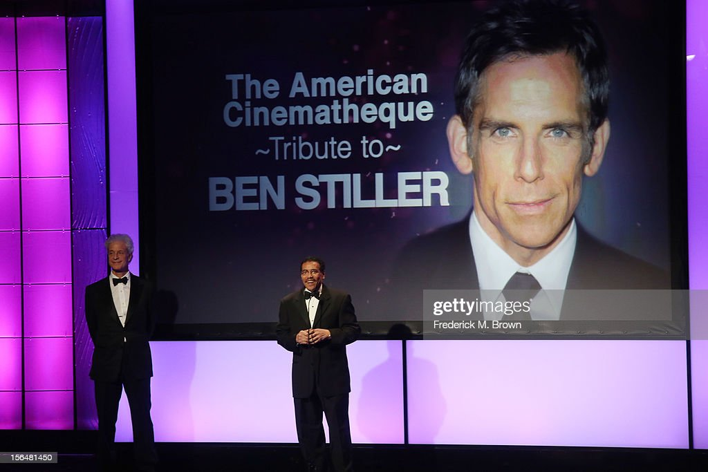 American Cinematheque Chairman Rick Nicita and American Cinematheque President Henry Shields Jr. onstage during the 26th American Cinematheque Award Gala honoring Ben Stiller at The Beverly Hilton Hotel on November 15, 2012 in Beverly Hills, California.