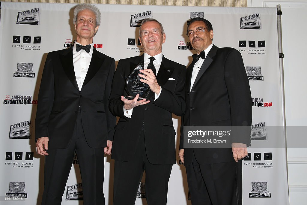 American Cinematheque Chairman Rick Nicita, honoree Michael Kutza (holding Sydney Pollack Award) and President of the American Cinematheque Henry Shields Jr. pose during the photo op at the 26th American Cinematheque Award Gala honoring Ben Stiller at The Beverly Hilton Hotel on November 15, 2012 in Beverly Hills, California.