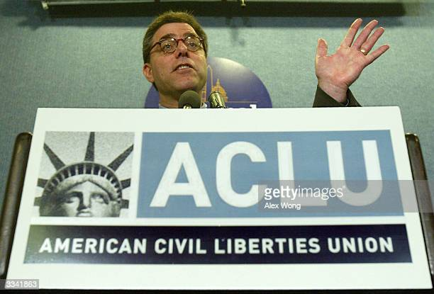 American Civil Liberties Union Legal Director Steven R Shapiro speaks April 12 2004 during a news conference on Guantanamo detainees at the National...