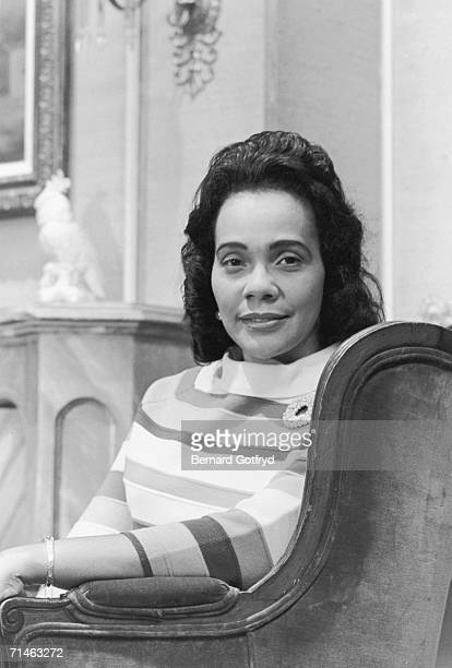 American civil rights activist and organizer Coretta Scott King poses for a portrait as she sits in a chair 1969 Mrs King is the widow of...