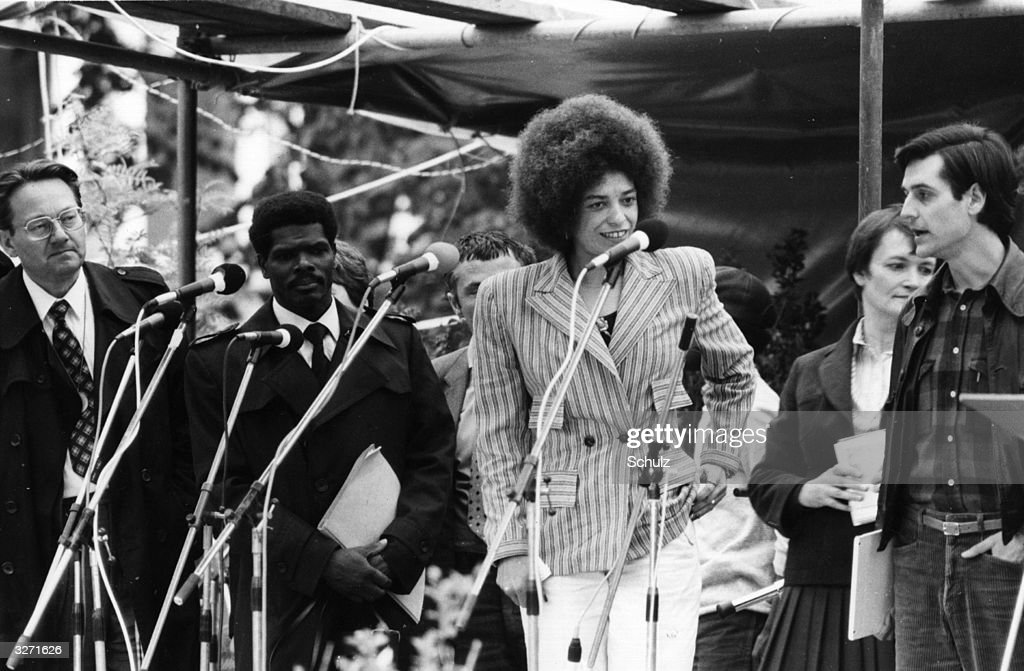American civil rights activist <a gi-track='captionPersonalityLinkClicked' href=/galleries/search?phrase=Angela+Davis+-+Activist&family=editorial&specificpeople=233774 ng-click='$event.stopPropagation()'>Angela Davis</a> (centre) making an address at the 19th Evangelical Church Day at Hamburg, West Germany. Disarmament is a central issue at the conference.