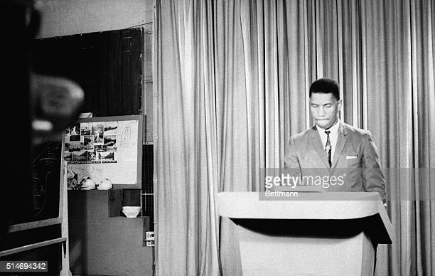 Medgar Evers state NAACP field secretary speaks about race relations during a television broadcast