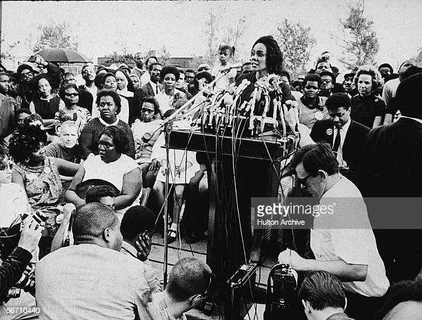American civil rights campaigner and widow of Dr Martin Luther King Jr Coretta Scott King addresses the assembled crowd during the 'Poor People's...