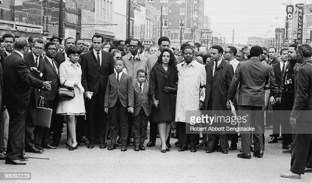 American civil rights campaigner and widow of Dr Martin Luther King Jr Coretta Scott King and civil rights leader Reverend Ralph Abernathy lead a...