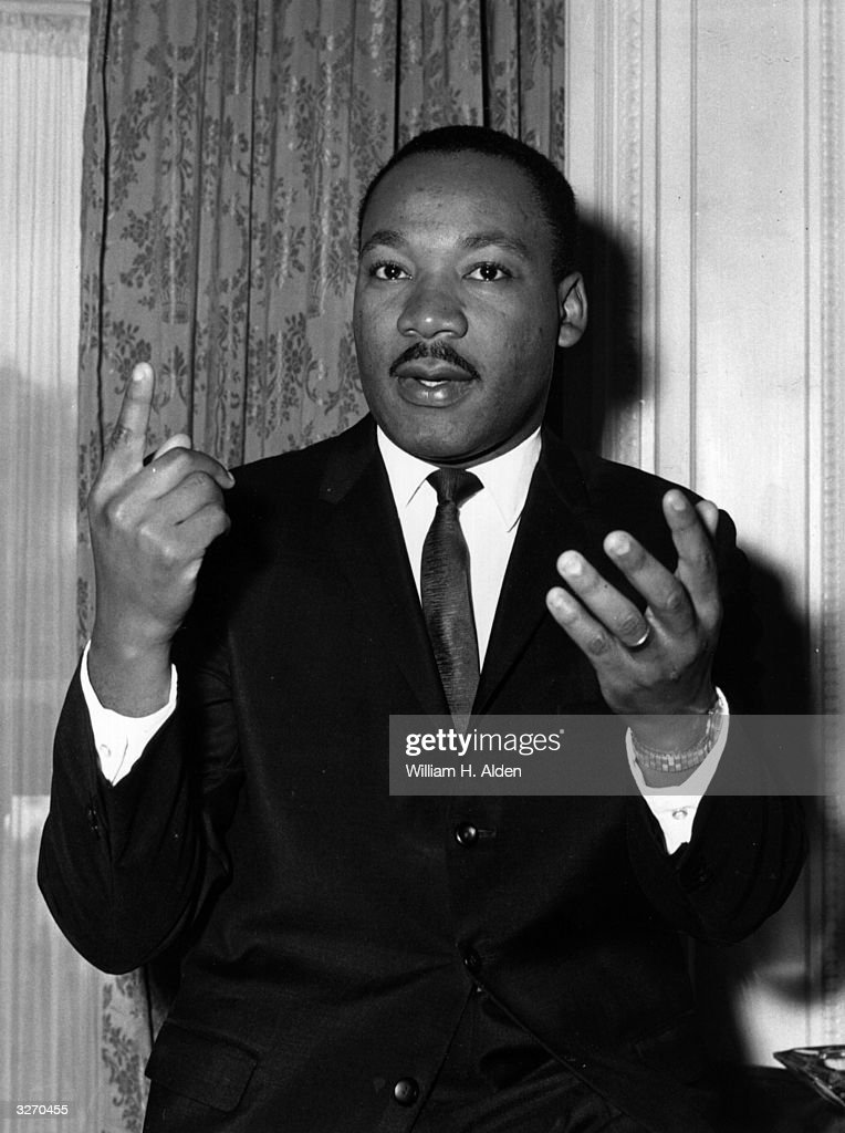 American civil rights campaigner Martin Luther King Jr (1929 - 1968) at a press reception at the Ritz Hotel, London, England.