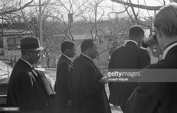 American Civil Rights leader Dr Martin Luther King Jr and others are filmed outside the New York Avenue Presbyterian Church Washington DC February 6...