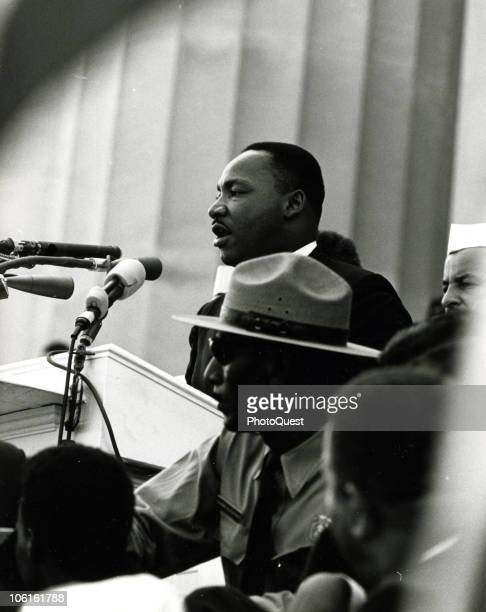 American Civil Rights leader Dr Martin Luther King Jr delivers his iconic 'I Have a Dream' speech from the steps of the Lincoln Memorial during the...