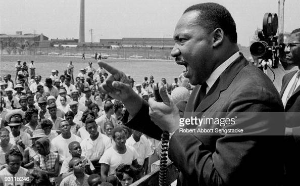 American Civil Rights leader Dr Martin Luther King Jr speaks at a rally held at the Robert Taylor Houses in Chicago Illinois 1960s