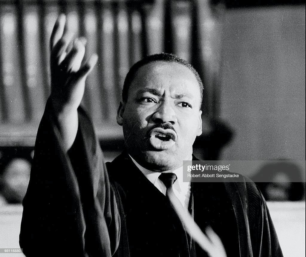 American Civil Rights leader Dr. Martin Luther King Jr. (1929 - 1968) speaks at Quinn Chapel on the South Side of Chicago, Illinois, 1960s.