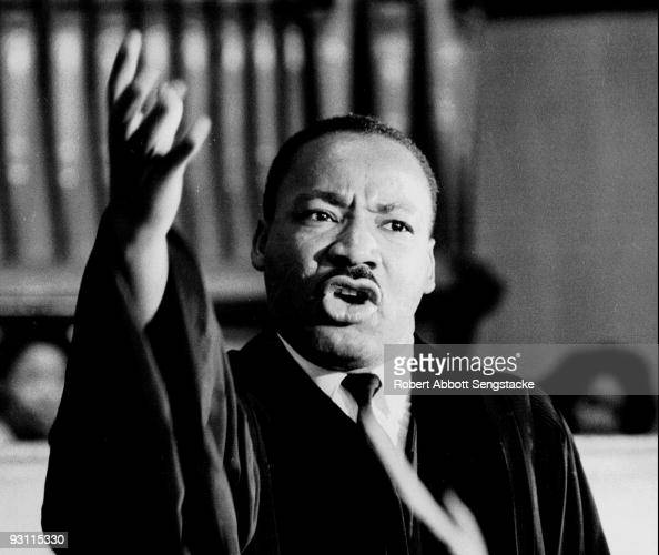 American Civil Rights leader Dr Martin Luther King Jr speaks at Quinn Chapel on the South Side of Chicago Illinois 1960s
