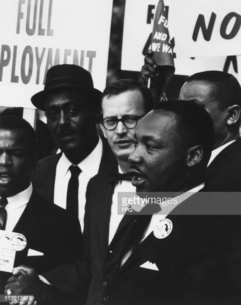 American civil rights leader Martin Luther King Jr at the March on Washington for Jobs and Freedom Washington DC 28th August 1963 King gave his 'I...