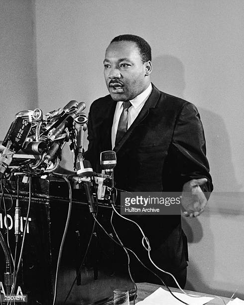 American Civil Rights leader Martin Luther King Jr speaks at a press conference for Clergy Laymen Concerned About Vietnam held at the Belmont Plaza...