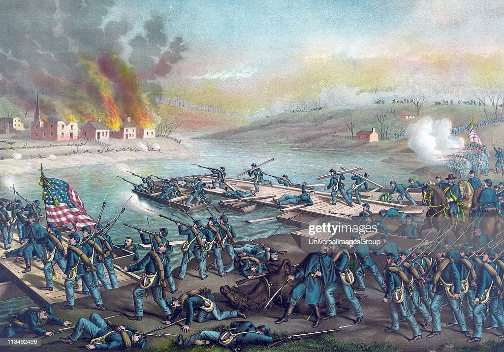 American Civil War 18611865 Battle of Fredericksburg Virginia 1115 December 1862 Army of the Potomac under Burnside crossing the Rappahannock 13...
