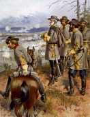 American Civil War 18611865 Battle of Fredericksburg Virginia 1115 December 1862 Confederate General Robert E Lee with his staff officers viewing...