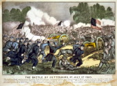 American Civil War 18611865 Battle of Gettysburg 13 July 1863 which ended Lee's invasion of the North Union troops bayonets fixed charging...