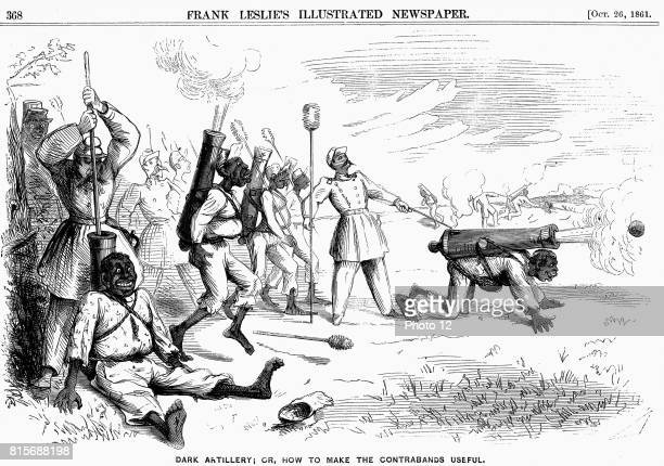 Cartoon from 'Frank Leslie's Illustrated Newspaper' New York showing how 'contrabands' could be made useful 'Contrabands' were Negro slaves who had...
