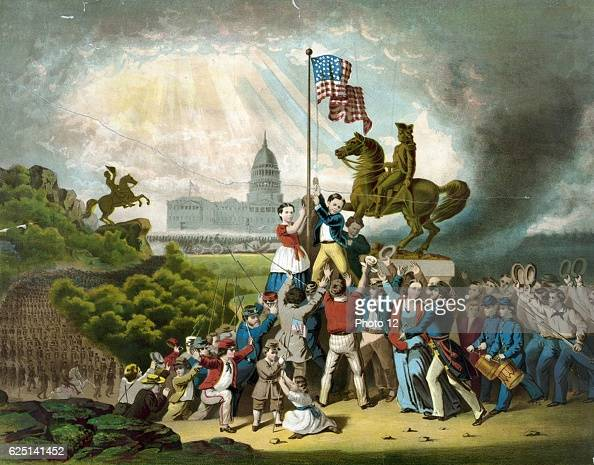 Raising the flag May 1861 US flag raised in Washington by Union patriots near the _statue of Andrew Jackson Coloured lithograph