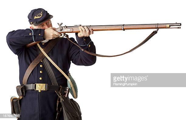 アメリカ南北戦争ユニオンミナミコメツキ焼ライフルオンホワイトにしましょう。