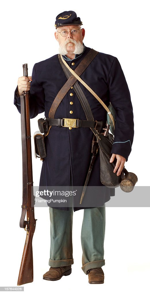 American Civil War Union Soldier, Isolated on White.
