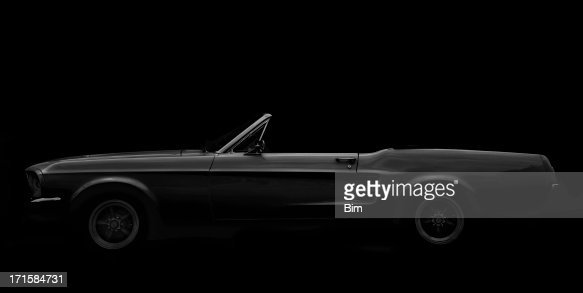 American Classic Car, 1960 Ford Mustang Convertible, Black and White