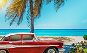 American classic car on the beach