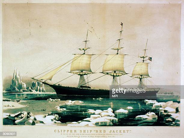 American clipper ship 'Red Jacket' on the ice off Cape Horn during its passage from Australia to Liverpool