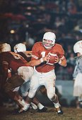 American college football player Marvin Kristynik quarterback for the Texas Longhorns in action on the field 1965