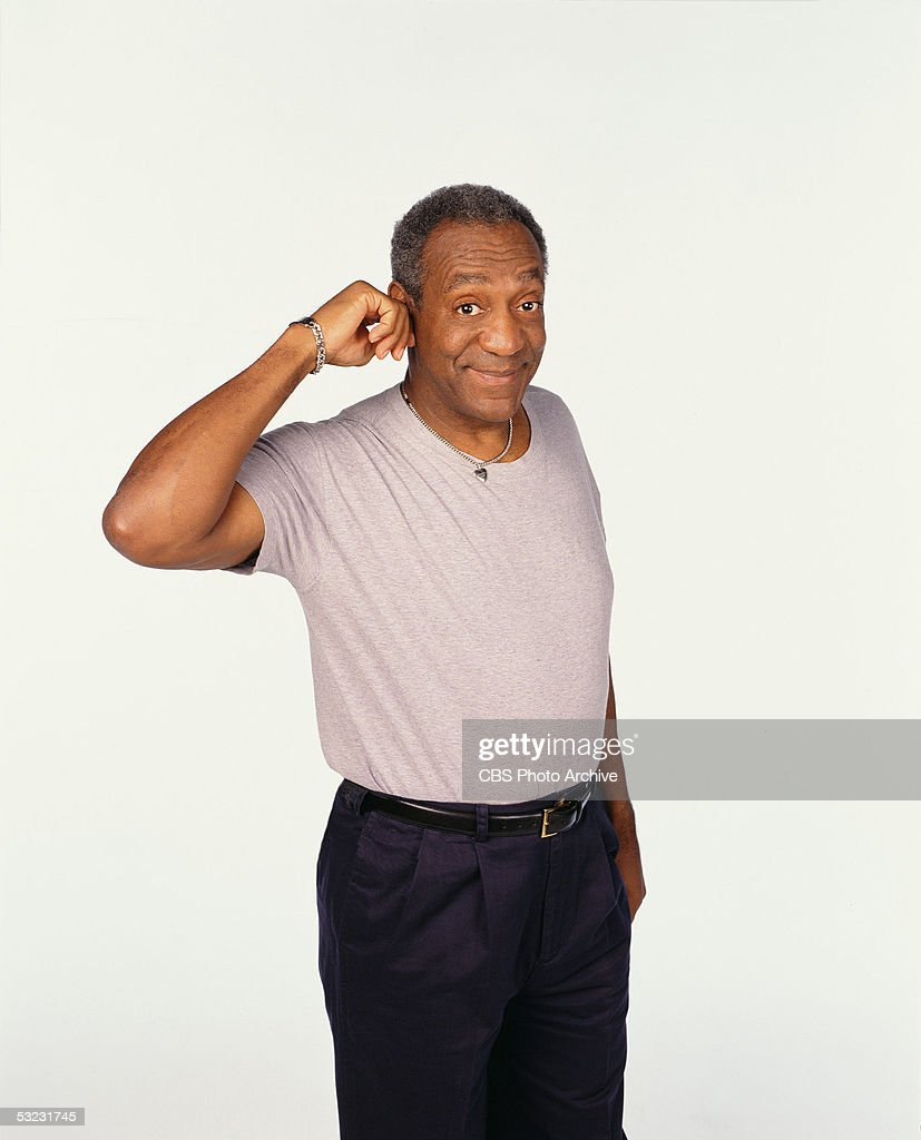 American comedian and actor <a gi-track='captionPersonalityLinkClicked' href=/galleries/search?phrase=Bill+Cosby&family=editorial&specificpeople=206281 ng-click='$event.stopPropagation()'>Bill Cosby</a> pulls on his ear in a promotional shot for the CBS sitcom 'Cosby,' 1996.