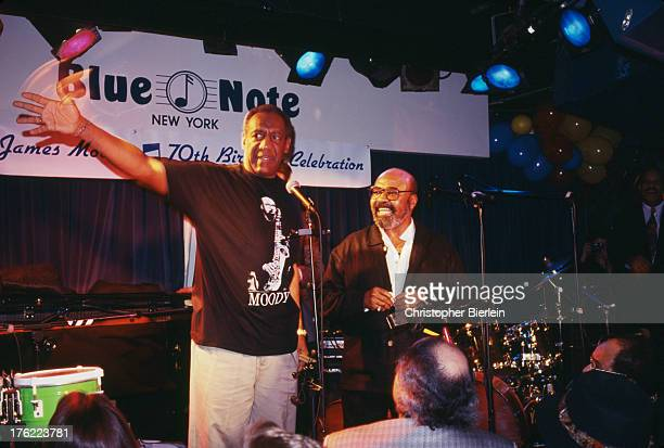 American comedian and actor Bill Cosby with American jazz saxophonist James Moody at a 70th birthday tribute show for Moody at the Blue Note Jazz...