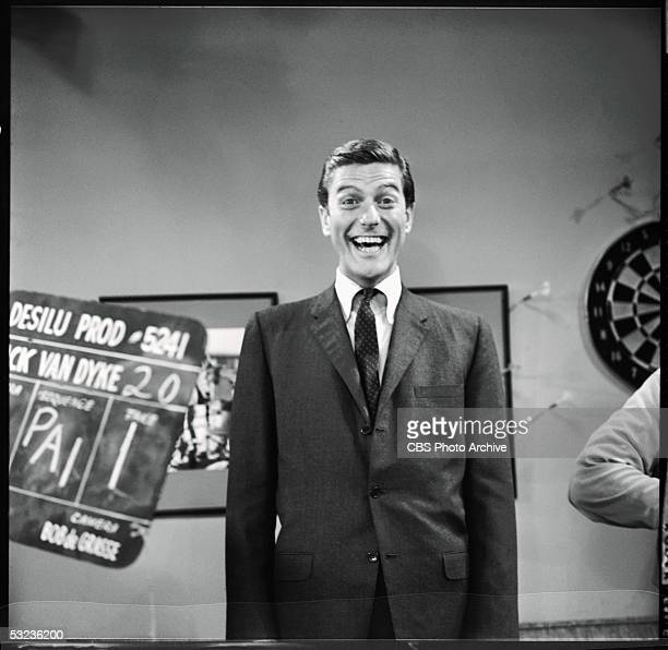 American comedian and actor Dick Van Dyke laughs between takes during the filming of 'The Boarder Incident' episode of 'The Dick Van Dyke Show' Los...