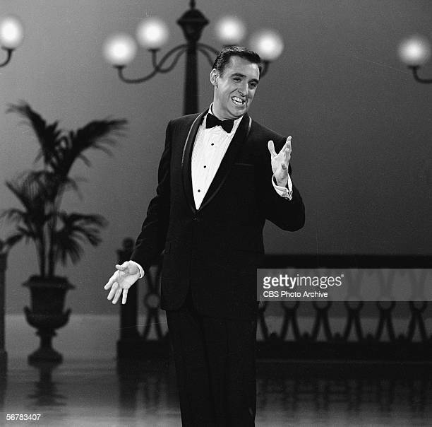 American comedian and singer Jim Nabors wears a tuxedo and performs on a television show September 12 1965