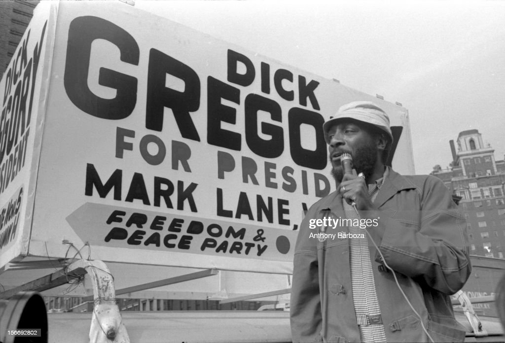 American comedian and social activist <a gi-track='captionPersonalityLinkClicked' href=/galleries/search?phrase=Dick+Gregory+-+Activist&family=editorial&specificpeople=226818 ng-click='$event.stopPropagation()'>Dick Gregory</a> campaigns for president with the Freedom & Peace Party, New York, New York, 1969.
