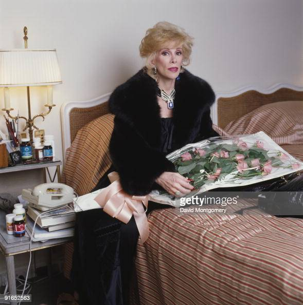 American comedian and TV personality Joan Rivers in her room at Claridge's hotel London 22nd November 1983