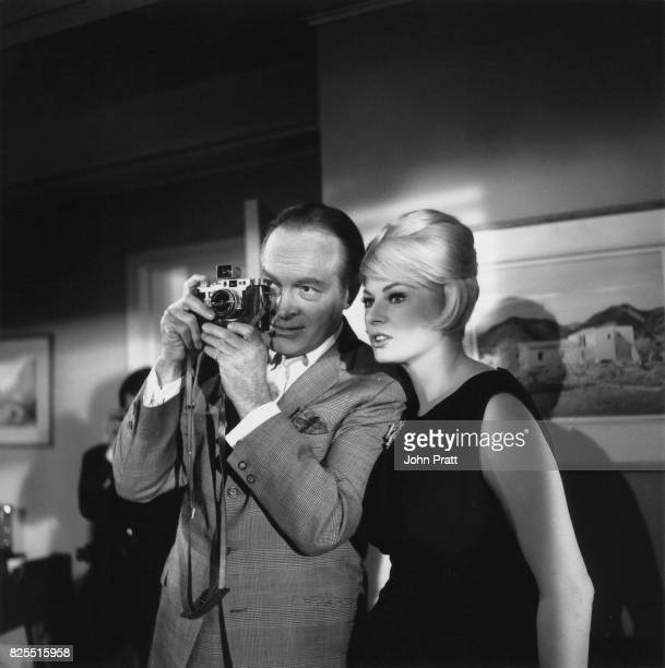 American comedian Bob Hope and actress Anita Ekberg on the set of the film 'Call Me Bwana' at Pinewood Studios UK 24th October 1962