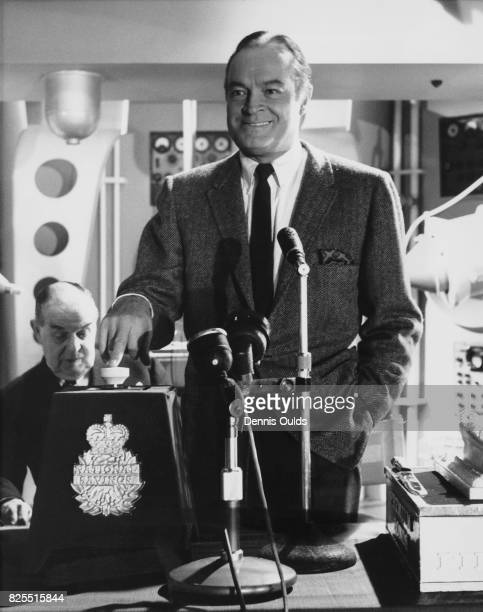 American comedian Bob Hope presses the button to activate ERNIE for the November Premium Savings Bond draw at Shepperton Studios UK 1st November 1961...